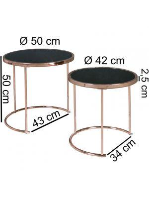 24Designs Boris Bijzettafel Ø42+50 cm - Set van 2 - Zwart Glas
