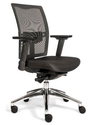 24Designs Brooklyn Ergonomische Bureaustoel EN1335 - Stof/Mesh Zwart - Aluminium Onderstel