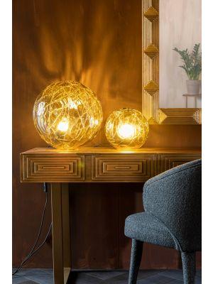 Dutchbone Lune Tafellamp - Ø25 x H24 cm - Amberkleurig Glas