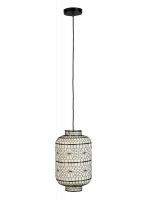 Dutchbone Ming Hanglamp - Ø23 x H39,5 cm - Zwart/Wit