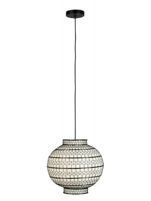 Dutchbone Ming Hanglamp - Ø36 x H33 cm - Zwart/Wit