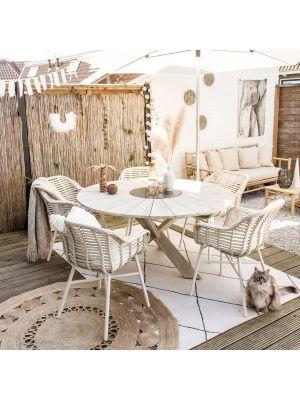 Hartman Cecilia Provence tuinset Wit – 5 Cecilia Dining Stoelen + Provence Tafel Ø150 cm