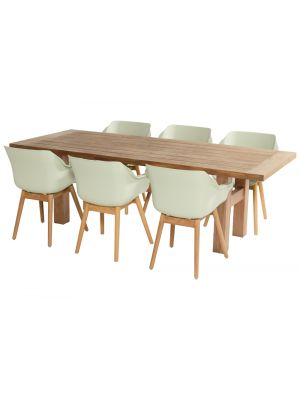 Hartman Yasmani Actieset: Teak tafel 240 cm + 6 Sophie Teak Armchairs - French Green