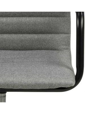 24Designs Winston Bureaustoel - Lichtgrijs Stof - Zwart Metalen Kruispoot met Wielen