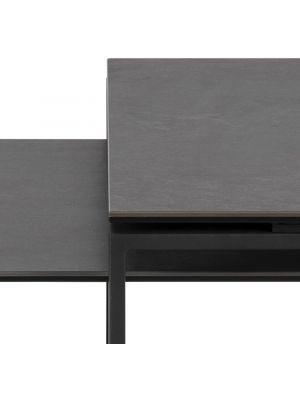 24Designs Salontafel Serenity - Tafelblad Zwart Keramiek - Zwart Metalen Onderstel