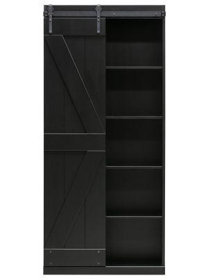 WOOOD Exclusive Harris Schuifdeurkast - H200 x B100 x D37 cm - Zwart Grenen