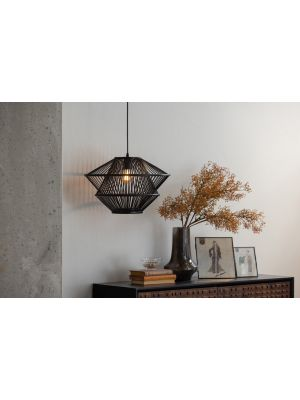 BePureHome Bamboo Hanglamp - B46 x D46 x H31 cm - Zwart
