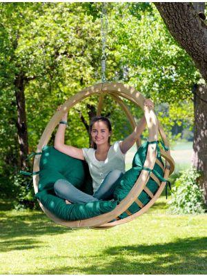 Amazonas Globo Chair Hangstoel 1-Persoons Groene Kussens - Vurenhout