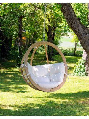 Amazonas Globo Chair Hangstoel 1-Persoons Naturel Kussens - Vurenhout