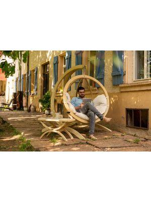 Amazonas Globo Chair Hangstoel Naturel Kussens + Luxe Houten Standaard