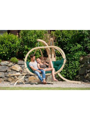 Amazonas Globo Royal Chair 2-Personen Groene Kussens + Royal Houten Standaard