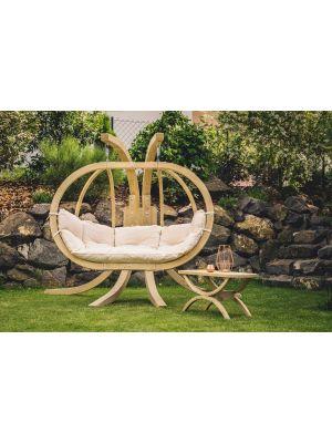 Amazonas Globo Royal Chair 2-Personen Naturel Kussens + Royal Houten Standaard
