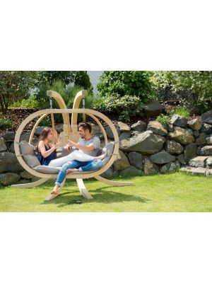 Amazonas Globo Royal Chair 2-Personen Taupe Kussens + Royal Houten Standaard