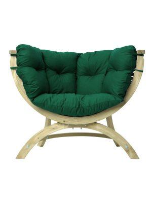 Amazonas Lounge Fauteuil Siena Uno Groene Kussens - Vurenhout