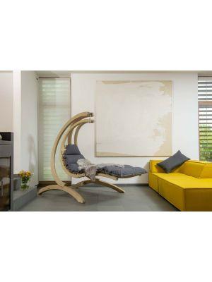 Amazonas Swing Lounger Hangfauteuil Antraciet Kussen + Houten Standaard