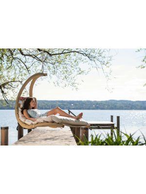 Amazonas Swing Lounger Hangfauteuil Crème Kussen + Houten Standaard