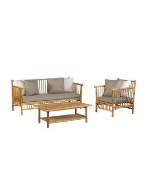 Exotan Bamboo Loungeset – Loungebank + Loungestoel + Koffietafel - Incl. Kussens