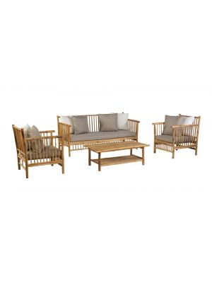Exotan Bamboo Loungeset - Loungebank + 2 x Loungestoel + Koffietafel - Incl. Kussens