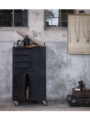 BePureHome Black Beauty Kast Op Wielen - H144 x B75 x D39 cm - Metaal - Zwart