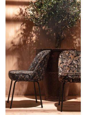 BePureHome Vogue Velvet Stoel - Set van 2 - Fluweel Aquarel Flower Zwart