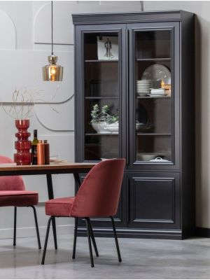 BePureHome Vogue Stoel Velvet - Set van 2 - Fluweel Chestnut - Zwarte Metalen Poten