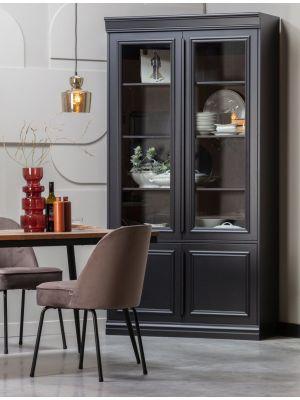 BePureHome Vogue Velvet Stoel - Set van 2 - Fluweel Nougat - Zwarte Metalen Poten