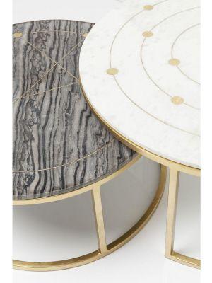 Kare Design Mystic Round Bijzettafel - Set van 2 - Marmer en Messing