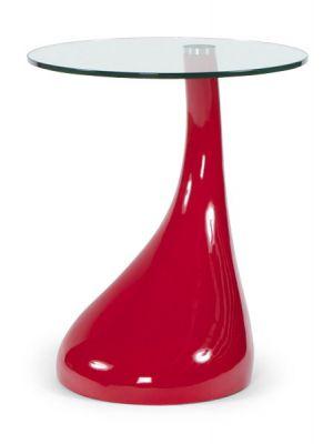 24Designs Bijzettafel Space Rood - B45 x H54 cm - Glazen Tafelblad