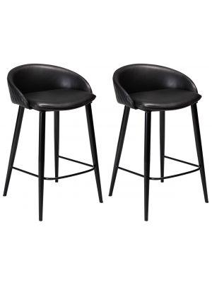 Dan-Form Dual Counter Barkruk – Zithoogte 65 cm - Set van 2 - Zwart Kunstleer