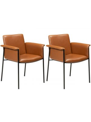 Dan-Form Vale Eetkamerstoel – Set van 2 – Cognac Kunstleer – Zwart Metalen Poten