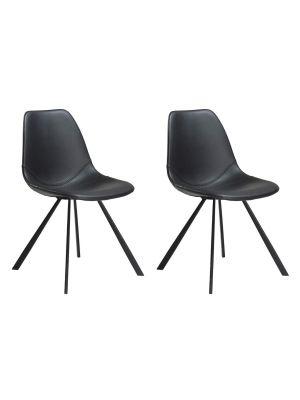 Dan-Form Pitch Stoel - Set van 2 - Zwart Kunstleer- Zwarte Metalen Poten