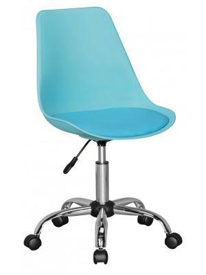 24Designs Bureaustoel Dex Office - In hoogte Verstelbare Blauwe Kuipstoel op wielen