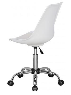 24Designs Bureaustoel Dex Office - In hoogte Verstelbare Witte Kuipstoel op wielen