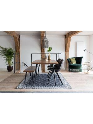 Dutchbone Alagon Eetbank - L160xB40xH45 cm - Walnoot - Zwart Metalen Poten