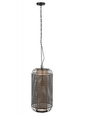 Dutchbone Archer Hanglamp L - Ø26,5xH209,5 cm - Messing en Zwart Metaal