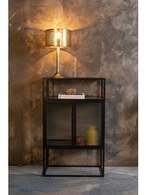 Dutchbone Boli Kast 2-Deurs - B65 x D35 x H105 cm - Glas en Zwart Metalen Frame