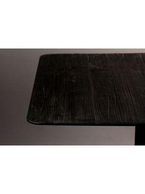 Dutchbone Braza Vierkante Bartafel - L70xB70xH93 cm - Zwart Houten Tafelblad - Metalen Onderstel