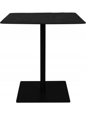 Dutchbone Braza Vierkante Bistrotafel - L70xB70xH75 cm - Tafelblad Zwart Hout - Metalen Onderstel