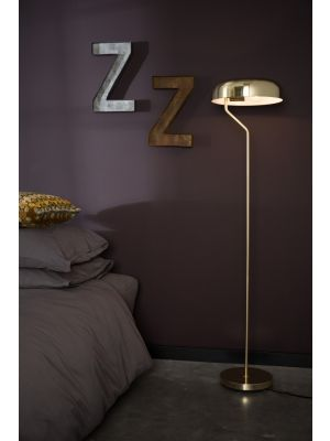 Dutchbone Eclipse Vloerlamp - Ø30xH130 cm - Messing Metalen Lampenkap en Basis