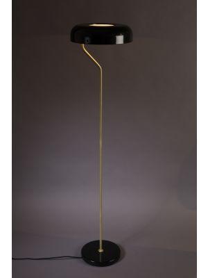 Dutchbone Eclipse Vloerlamp - Ø30xH130 cm - Zwart Metalen Lampenkap - Messing Basis