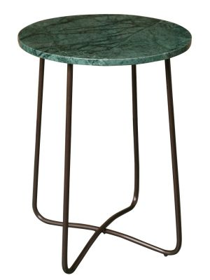 Dutchbone Emerald Bijzettafel - Ø41xH55 cm - Groen Marmer Tafelblad - Brons Metalen Onderstel