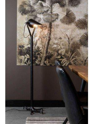 Dutchbone Falcon Vloerlamp - B27xD39,5xH137 cm - Zwart Metaal/Aluminium