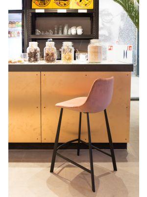 Dutchbone Franky Counter Barkruk - Zithoogte 65 cm - Set van 2 - Oudroze Fluweel - Zwart Metalen Onderstel