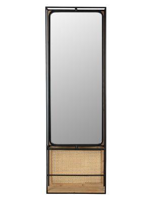 Dutchbone Langres L Spiegel - B53xD15xH165 cm - Zwart Metaal