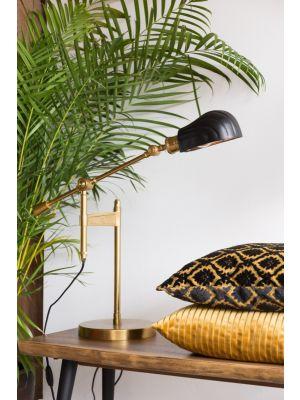 Dutchbone Lily Tafellamp - B33xD68,5xH46-73 cm - Zwart en Messing Metaal