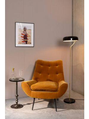 Dutchbone Sue Bijzettafel - B28 x H54 cm - Glas - Zwart Nikkel