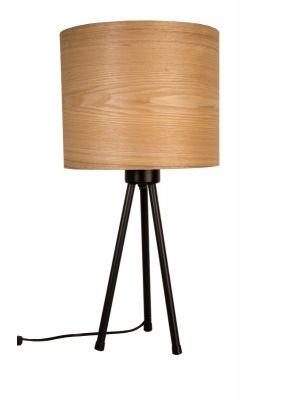Dutchbone Woodland Tafellamp - Ø30xH60 cm - Houten Lampenkap met Zwart Metalen Tripod