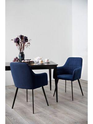 Dan-Form Embrace Eetkamerstoel Armleuningen - Stof Blauw - Zwart Metalen Poten
