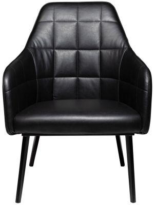 Dan-Form Embrace Lounge Fauteuil - Zwart Kunstleer - Zwart Metalen Poten