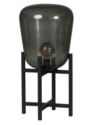 ETH Tafellamp Benn - H70 cm - Ø33 cm - Rookglas en Zwart Metaal
